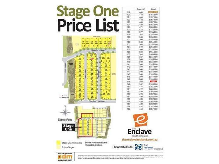 Lots 120 - 159 The Enclave Subdivision, South Hedland